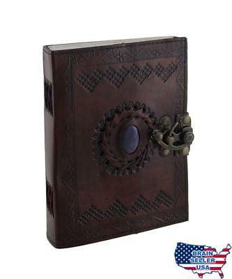 Embossed Leather With Stone (color may vary) 120 Page Unlined Journal with Clasp