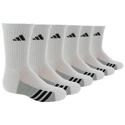 (Medium, White/Black) - adidas Boys Youth cushioned 6-Pack Crew sock