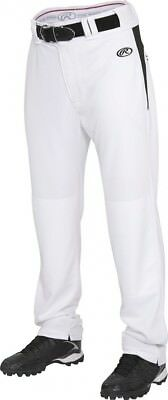 (X-Small, White/Black) - Rawlings Youth Semi-Relaxed Pants with Waist Inserts