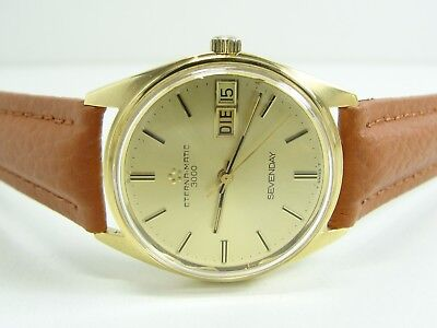 ETERNA MATIC 3000 SEVENDAY 750/18kt. GOLD AUTOMATIC DAY DATE VINTAGE MENS WATCH