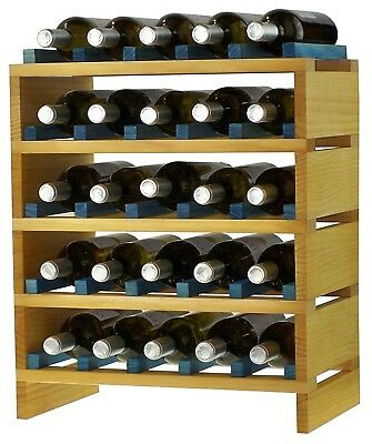 expovinalia ex2725 - Stackable Wine Rack for 25 Bottles, Wooden, Pine and Blue