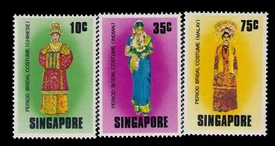 Singapore Stamps,Malay Bridal Costume SC# 257-259 Cpl.MH Set,CV:$7