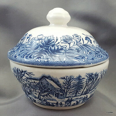 """Churchill Currier and Ives Ice Skating Covered Sugar Bowl 3-7/8"""" Blue Ironstone"""