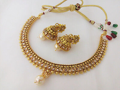 South Indian Fashion Jewelry Necklace Bollywood Gold Pated Ethnic Traditional