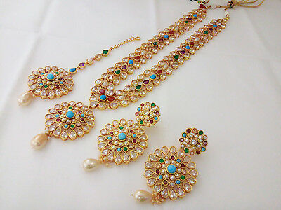 Indian traditional Jewelry AD Long rani haaram bollywood ethnic gold plated set