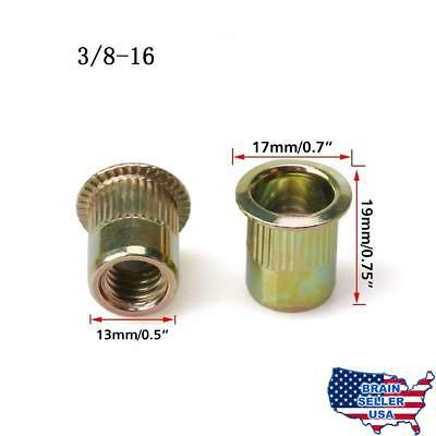 URBEST 50Pcs Steel Rivet Nut Rivnut Insert Nutsert 3/8-16, New, Free Ship