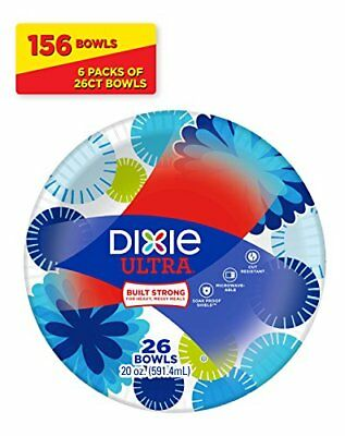 Dixie Ultra Paper Bowls, 20 Ounces, 156 Count (6 Packs of 26 Bowls), New