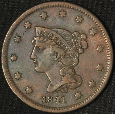 1841 Braided Hair Large Cent - Very Nice Coin - Free Shipping USA