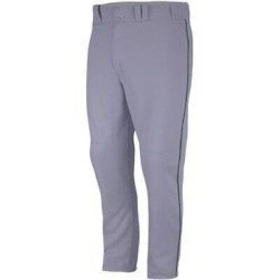 (Large, Gray/Forest) - Majestic Boy's Zipper Front Baseball Pant with Piping