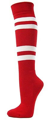 (Large, Red) - Couver White Striped Knee High Softball/Sports Socks