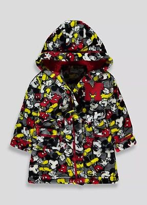 Mickey Mouse Hooded Fleece Dressing Gown Age 6-9 Month Boys Unisex BNWT Not NEXT