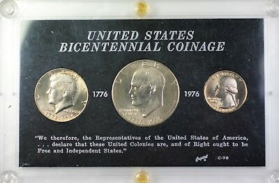 1976 United States Bicentennial Three Coin Brilliant Uncirculated Capital Case