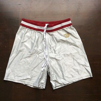 Vintage Wilson 80s Silver Red Trim Nylon Basketball Shorts Mens 38 Fit Med USA