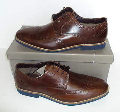 RRP £59.99 Men's LINEA Tan Brown Leather New Lace Up Brogues Shoes Sizes UK 7-11