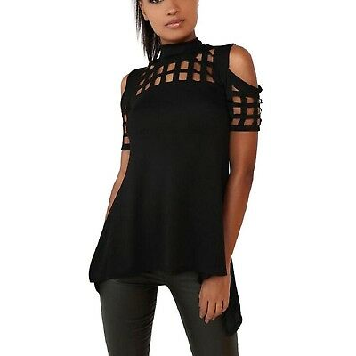 (Large, Black) - Fheaven Casual Loose Hollowed Out Shoulder Short Sleeve