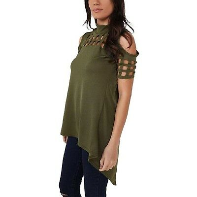 (Large, Green) - Fheaven Casual Loose Hollowed Out Shoulder Short Sleeve