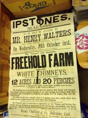 Old Staffordshire Document,Ipstones Poster White Chimneys, Massey, Argues 1800s