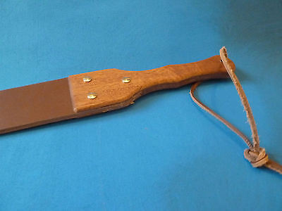 "Heavy LEATHER punishment strap 27"" x 2½"" with hardwood handle (cane)"