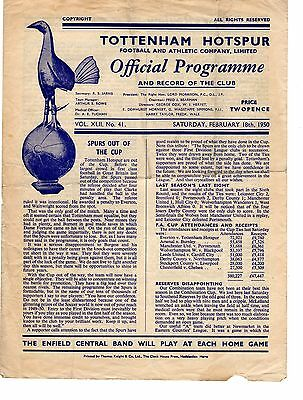 Tottenham v Crystal Palace Reserves Programme 18.2.1950 Combination Cup