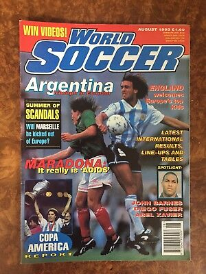 World Soccer Magazine August 1993,Copa America,US Cup '93,Maradona,Barnes