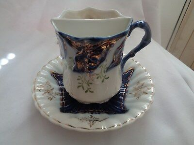 Vintage Made In Germany Shaving Mug With Under Plate And Brush