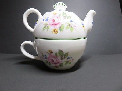 "Lands End Pottery Fine Bone China Teapot & Cup Combo. ""Tea For One"""