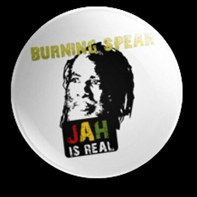 Burning Spear 25Mm Badge Roots Reggae Jah Is Real Marcus Garvey Rasta