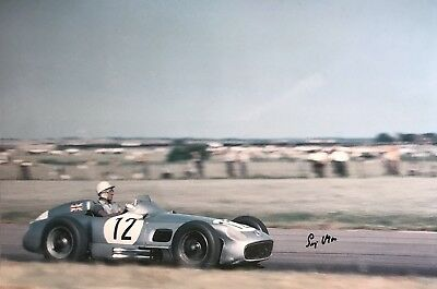 Stirling Moss Hand Signed Mercedes F1 18x12 Photo 1.
