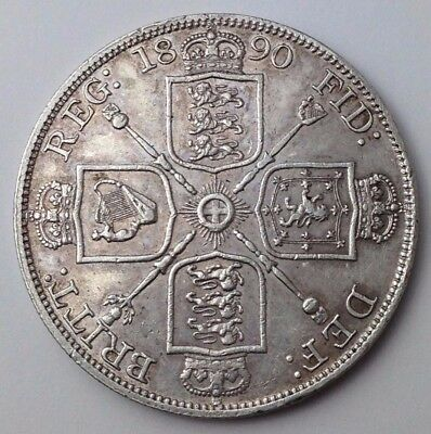 Dated : 1890 - Silver Coin - Double Florin - Four / 4 Shillings - Queen Victoria