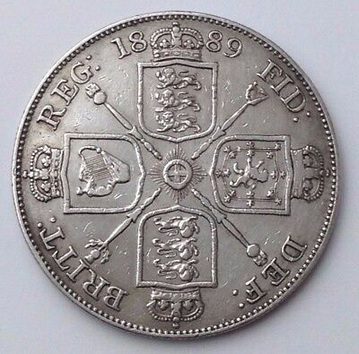 Dated : 1889 - Silver Coin - Double Florin - Four / 4 Shillings - Queen Victoria