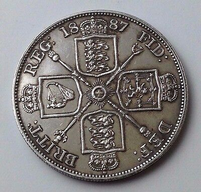 Dated : 1887 - Silver Coin - Double Florin - Four / 4 Shillings - Queen Victoria