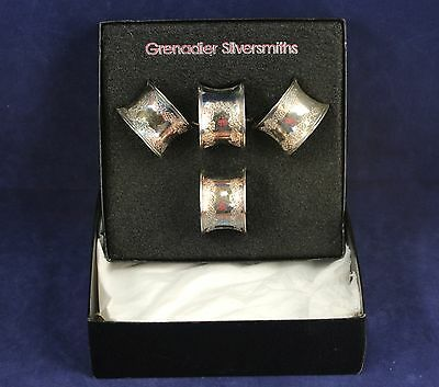 Set of 4 Silver Plate Napkin Rings By Grenadier Silversmiths - Original Box