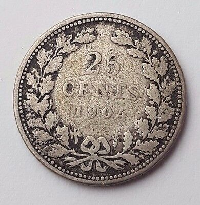 Dated : 1904 - Silver Coin - 25 Cents - Wilhelmina - Nederland - Netherlands