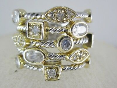 Beautiful Ladies  Sterling Silver  Clear Stone Fashion Ring 8.0G