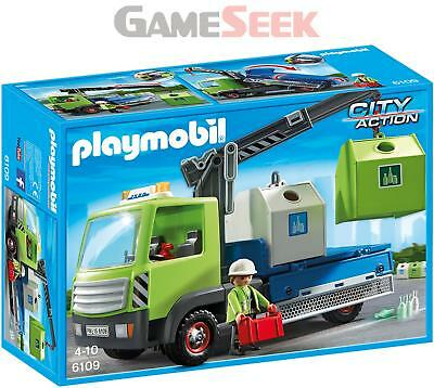 Playmobil 6109 City Action City Cleaning Glass Sorting Truck - Toys Brand New