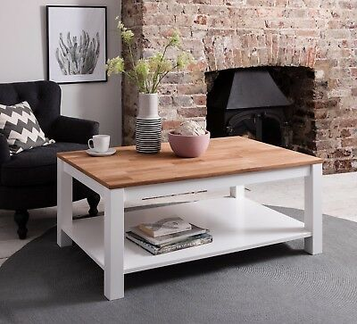 Hever Coffee Table in White and Pine Solid Side Table