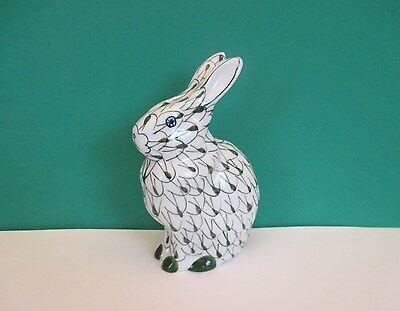Hand Painted Green Fishnet Porcelain Bunny
