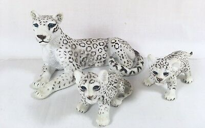 "AAA 5"" Snow Leopard Mom Cubs Rubber Plastic Figurine Set Lot White Model Toy"