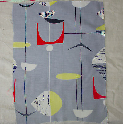 vintage 1952 Mobiles Marian Mahler abstract atomic print cotton fabric piece