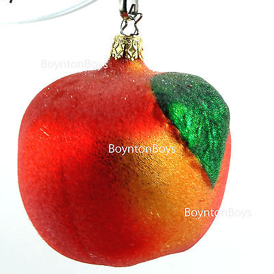 """Vintage Old World Christmas Ornament Apple Sugar Coated Germany Blown Glass 4"""""""