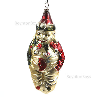"""Vintage Blown Glass Painted Figural Clown Jester Christmas Ornament Germany 5"""""""