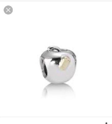 Genuine Pandora Apple / New York Charm With Gold Worm Preowned