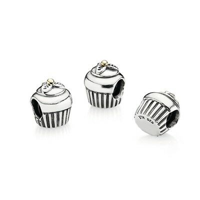 Genuine Pandora Cupcake Charm With Gold Cherry 14k Gold Preowned
