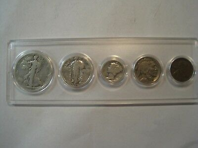 1928 Birth Year 5 Coin Set - 90% Silver Coins (3) Included - Circulated Set