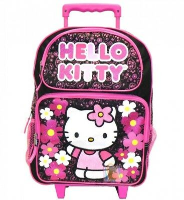 Black and Pink Hello Kitty Full Size Rolling Backpack - Hello Kitty Luggage