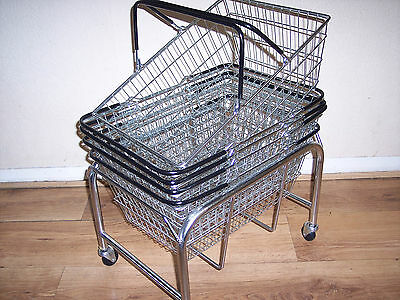 Pack of Five Wire Shopping Baskets Black Plus Mobile Stand