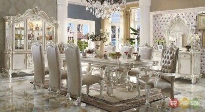 "Versailles 9 Piece Formal Luxury Dining Room Set 120"" Table 8 Chairs Bone White"