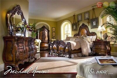 Chateau Beauvais Luxury King Bed Carved Wood 6pc Bedroom Set w/ Chest & Armoire