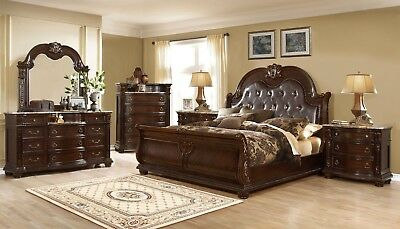 Amber French Provincial Sleigh 4pc Queen Luxury Bedroom Set In Dark Cherry