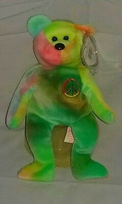 Ty Beanie Baby Babies~PEACE BEAR~5th Gen. No Stamp~Neons & Darks~Green~ERROR TAG
